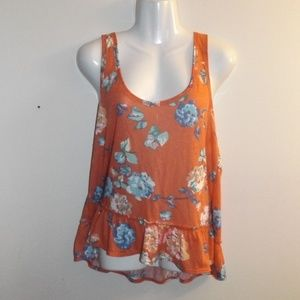AEO Pink Floral Peplum Tank Top XL NWT